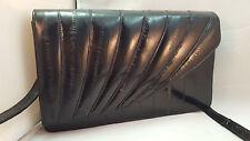 Black EEL SKIN LEATHER Designer Shoulder Bag Purse Seashell Style