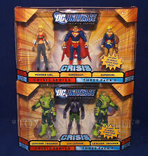 New 2 DC UNIVERSE CRISIS 3Pack Figures SUPERMAN Lex Luthor SUPERGIRL WONDER GIRL