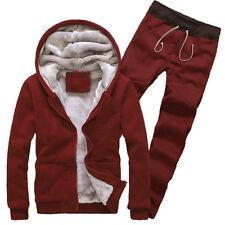 Mens Winter Thick Velvet Hooded Zip Jacket Hoodie Sweatshirts & Pant Sports Suit