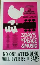 Woodstock 3 Days of Peace and Music Poster  1969 Hendrix, Janis Joplin, CSNY etc