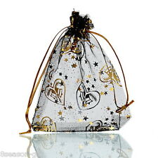 25PCs 9.5cm x11.5cm Black Gold Heart Organza Gift Bags Wedding/Christmas Favor