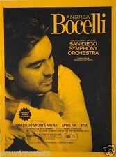 """ANDREA BOCELLI """"2005 TOUR"""" SAN DIEGO CONCERT POSTER - Operatic/Latin Pop Music"""