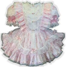 """Janet"" Custom Fit PINK SATIN & LACE RUFFLES Adult LG Sissy Baby Dress LEANNE"