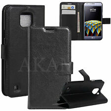 PU Leather Black Book Wallet Magnetic Flip Stand Case Cover For LG X cam K580