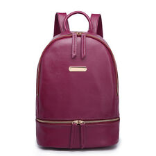 Ladies PU Leather Shoulder Tote School Backpack Handbag Travel Bag Plain Purple
