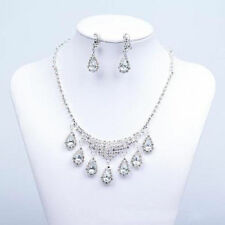 Bridal Wedding Rhinestone Crysta Pearl 4 In1 Necklace Ring Earring Jewelry Set