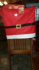 Christmas Santa Claus Print Red Felt Belt Chair Cover. Fits Most Chairs. 24X19""