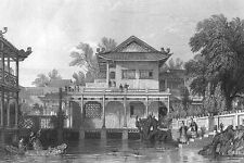 China, RICH MANDARIN VILLA COURTYARD GARDEN KOI POND ~ 1842 Art Print Engraving