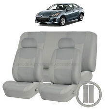 PU LEATHER SOLID GRAY SEAT COVERS 11PC SET for MAZDA 3 5 CX7