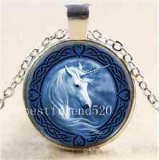 Celtic Unicorn Photo Cabochon Glass Tibet Silver Chain Pendant Necklace