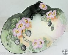 ANTIQUE LIMOGES OVAL DISH/PLATE HAND PAINTED PINK FLOWER HANDLE BLACKBERRY