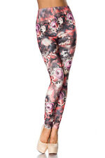 Leggins Leggings Legging  Blumen Flower Muster Lachs Multicolor  34 36 38