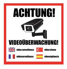 ACHTUNG! Videoüberwachung Aufkleber, Hinweis Warnaufkleber Kamera 4 Sprachen