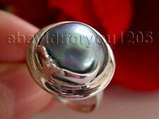 Luster Genuine Natural 19mm Blue Mabe Pearl Rings 925silver #f1111!
