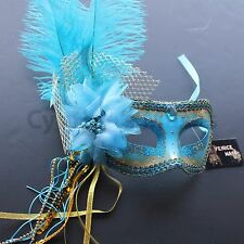 Turquoise PVC Venetian Ostrich Feather Mask for wedding dancing party Masquerade