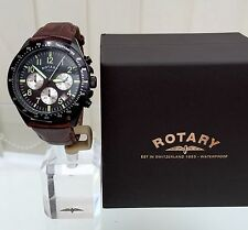 Rotary Mens Watch Brown Leather Luminous hands Chronograph RRP £180 Boxed