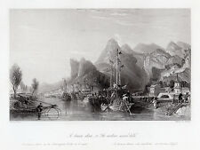 Lovely 1800s Thomas ALLOM Engraving Western Seared Hills China SIGNED Framed COA