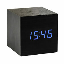 BLUE Wood Cube LED Alarm Control Digital Desk Clock Wooden Room Temperature DK