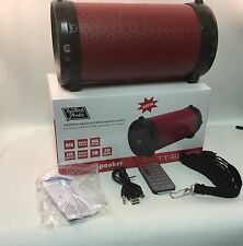 Mini Bazooka Bluetooth Speaker Portable PU Leather Red Stereo Bass Rechargeable