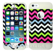 KoolKase Hybrid Silicone Cover Case for Apple iPhone 5 5S - Chevron Wave 04