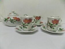 House of Prill Porcelain Tea Set , Teapot & Demitasse Cups / Saucers