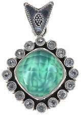 Sandra Singh Green Agate and White Topaz Doublet Sterling Silver Pendant