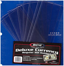 (25) REGULAR  BCW DELUXE CURRENCY SLEEVE BILL  HOLDERS PAPER MONEY SEMI RIGID06