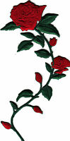 LONG STEM RED ROSE & BUDS(Right) - FLOWERS - Iron On Embroidered Applique