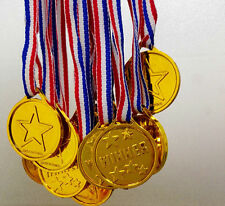 10Pcs Children Gold Plastic Winners Medals Sports Day Party Bag Prize Awards Toy