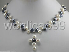 7-8mm beautiful black & white freshwater Cultured Pearl cross Pendants Necklace