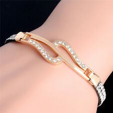 New Fashion Women Lady Gold Plated Crystal Cuff Bangle Charm Rhinestone Bracelet