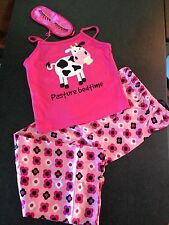 BNWT Girls Sz 10/11 Cute Pink Cow Print Summer PJ Pyjamas & Bonus Sleep Mask