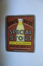 SPECIAL STOUT FREMLINS FAVERSHAM KENT BEER BOTTLE LABEL
