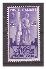 REGNO 1933 - GIOCHI  UNIVERSITARI  Centesimi 50   NUOVO **