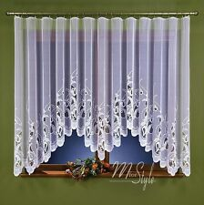 "Jardiniere Net Curtain White Tulips Tape Top Ready Made 118"" wide x 59"" drop"
