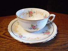 Germany US-Zone Bareuther Floral Rose Small Tea Cup and Saucer