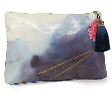 Indigo Blue Watercolor Large Accessory Bag Clutch Pouch Purple Tassel Papaya Art