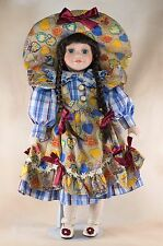 "Angelina Collection Porcelain Doll 15"" Dark Brown Hair Blue Eyes w/Eyelashes"