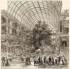 Impression antique, londres, hyde park, nef de la grande exposition, 1851