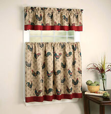 Rooster Pullet™ Kitchen Curtain Tier & Valance Set By Goodgram®