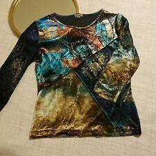 Caia Vintage Mixed Print Abstract Velvet Velour Blue Multi Color Top Women Small