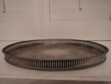 "Vintage English Silverplate Oval Reticulated Gallery 16"" Tray Silver Plate"