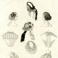 """Antique French Engraving, """"Journal des Demoiselles"""", Fashion, Paris, July 1860"""