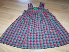 Toddler Girls Size 4 Kelly's Kids Red Green Navy Plaid Jumper Dress Cherries GUC