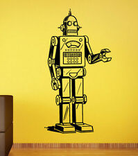 Vintage Robot Wall Sticker Retro Vinyl Decal Atr Childrens Room Wall Decor 18rt