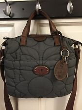 Fossil Key-Per Brown Leather Gray Quilted Cross Body Bag Satchel-19