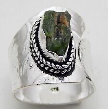 Rough Green Garnet 925 Starling Silver Jewelry Adjustable Ring US Size 6.25'' A1