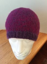 alpaca silk beanie (77%alpaca 23%silk) medium size womens hat 2 shades of purple