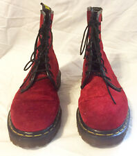 Rare Vintage DR. MARTENS 8-Eye Combat Boots UK 4 US 6 - 6.5 RED VELVET UNIQUE!