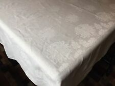 Lovely Floral Double Damask Banquet Tablecloth, HUGE 66x136 (RF322)